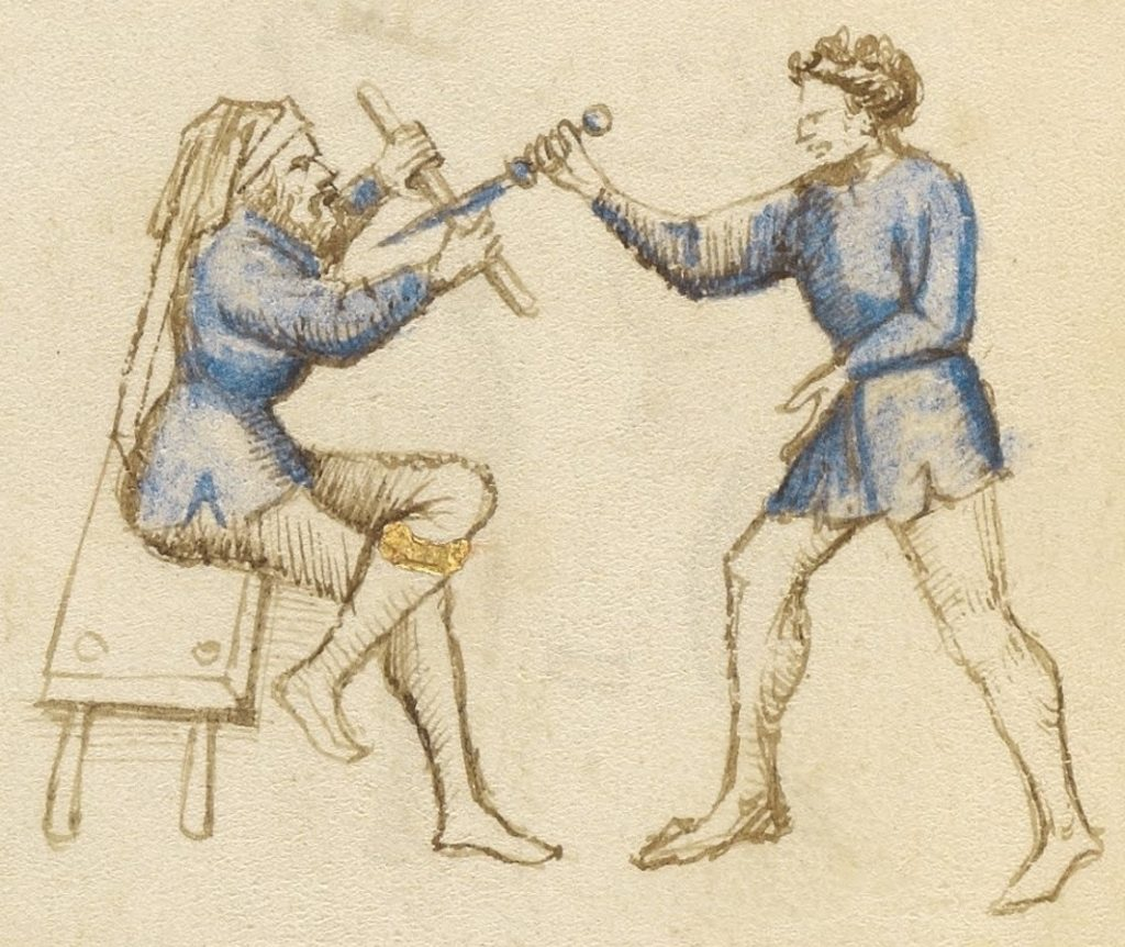 Defence from a dagger attack while seated.